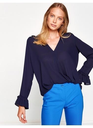 Koton Kolları Volanlı V Yaka Bluz Mavi